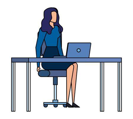 elegant businesswoman worker in the office vector illustration design Ilustração
