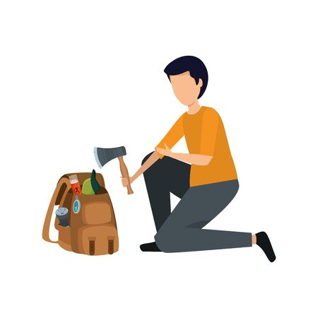 young man with camping travel bag and equipment vector illustration design Çizim