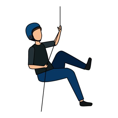 man climbing with rope character vector illustration design Ilustração