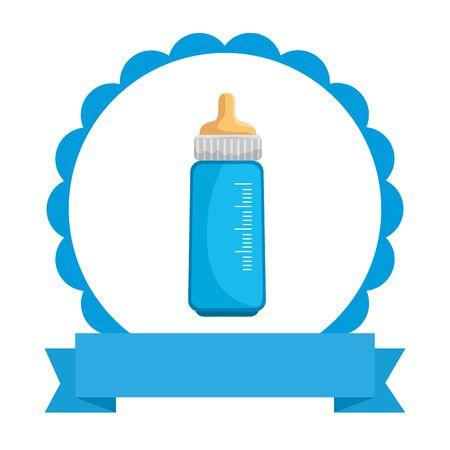 baby shower card with bottle milk vector illustration design