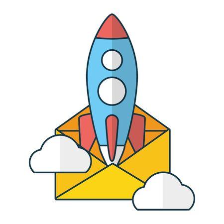launching rocket envelope send email vector illustration 일러스트