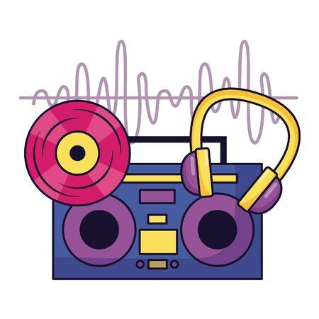 vinyl boombox stereo headphones music festival vector illustration