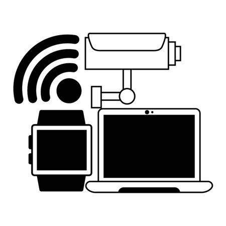 computer camera smart watch wifi free connection vector illustration Ilustração
