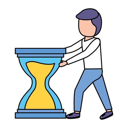 elegant young businessman with hourglass vector illustration design Çizim
