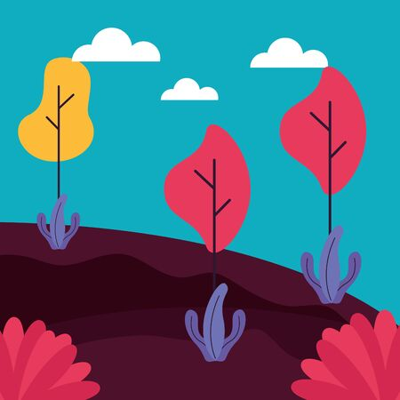 forest trees plants meadow nature sticker vector illustration