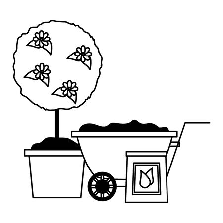 wheelbarrow tree flower soil tools decoration gardening flat design vector illustration Ilustração