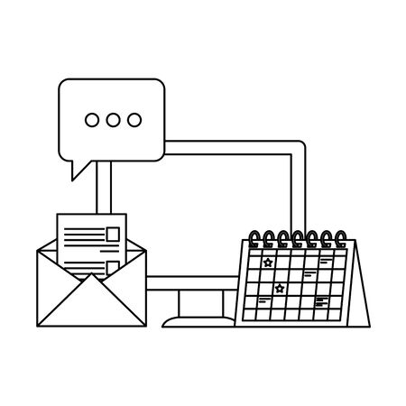desktop computer with envelope mail vector illustration design Illusztráció