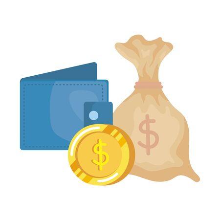 coins money dollars with wallet vector illustration design Çizim