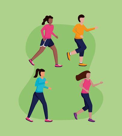 people group athlete running activity vector illustration