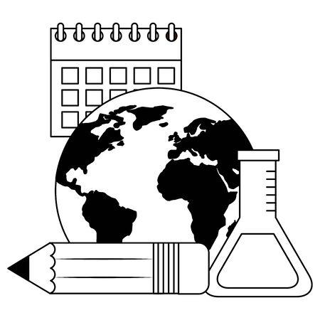 school world test tube pencil calendar vector illustration Stock Illustratie