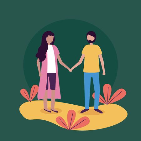 man and woman holding hands activities outdoors vector illustration Çizim