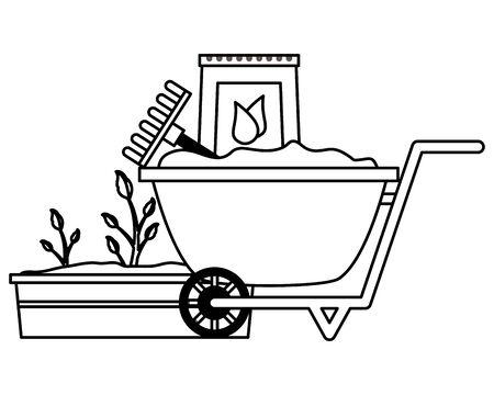 wheelbarrow rake soil plant tools decoration gardening flat design vector illustration
