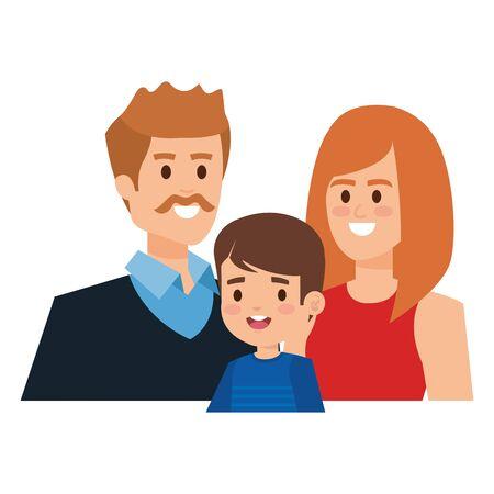 adults parents couple with little son vector illustration design