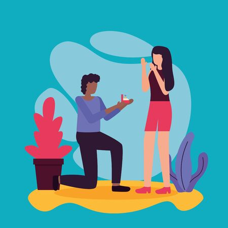 man proposes marriage to woman activities outdoors vector illustration Çizim