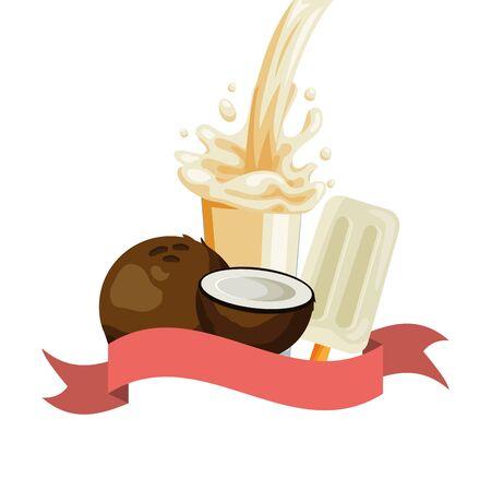 juice ice cream coconut splash tropical fruits vector illustration Banque d'images - 130007934