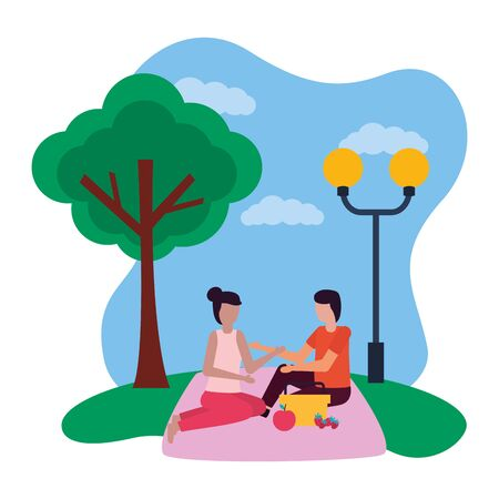couple eating picnic romantic in the park vector illustration
