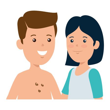 young boy shirtless with cute woman couple vector illustration design