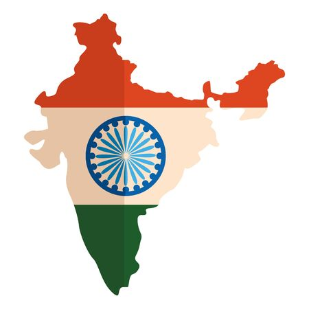 map with indian flag independence day vector illustration design
