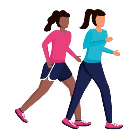 two women practicing running activity vector illustration
