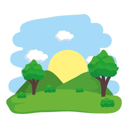 outdoor activity landscape natural trees hills vector illustration