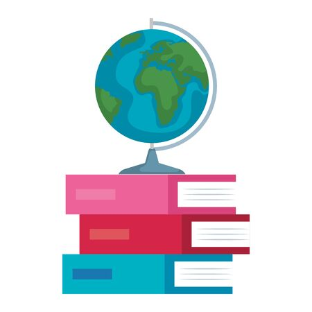 pile textbooks with world map vector illustration design