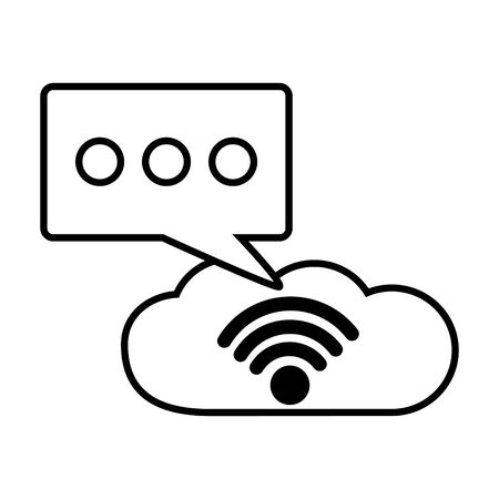 cloud computing and talk bubble wifi free connection vector illustration