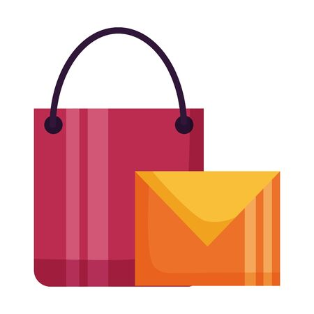shopping bag email message on white background vector illustration