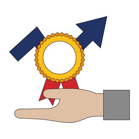 hand holding medal arrow growth vector illustration