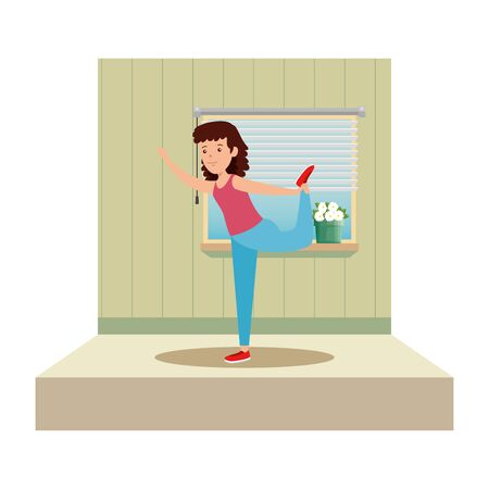 happy athletic girl practicing exercice on the gym vector illustration design