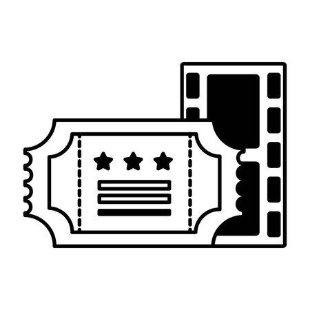 film strip and ticket cinema movie vector illustration Foto de archivo - 129930721