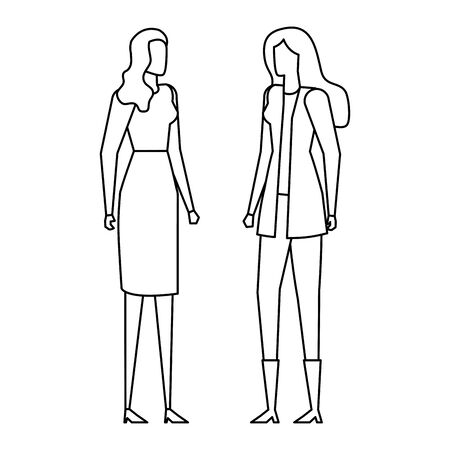 elegant young businesswomen avatars characters vector illustration design