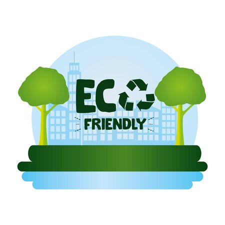 eco friendly city nature water vector illustration