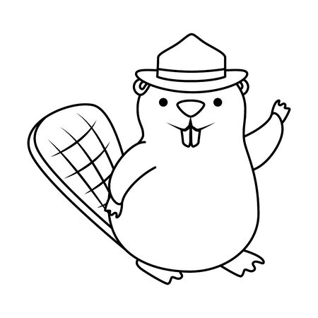 cute beaver with ranger hat mascot animal vector illustration design