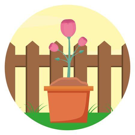 potted flowers wooden fence gardening flat design vector illustration