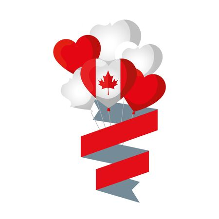 balloons helium with canadian flag and heart shape vector illustration design Ilustração