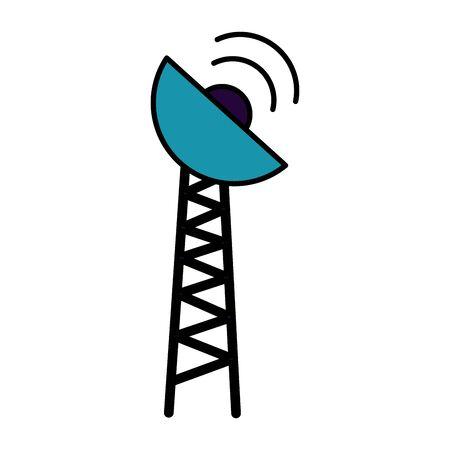 Antennenübertragungssignal auf weißer Hintergrundvektorillustration