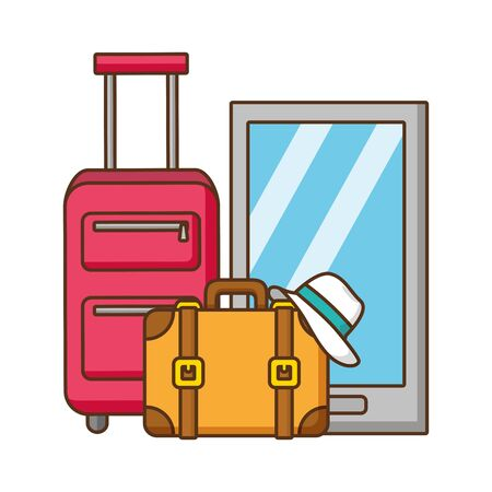 vacations smartphone bag suitcase and hat vector illustration Çizim