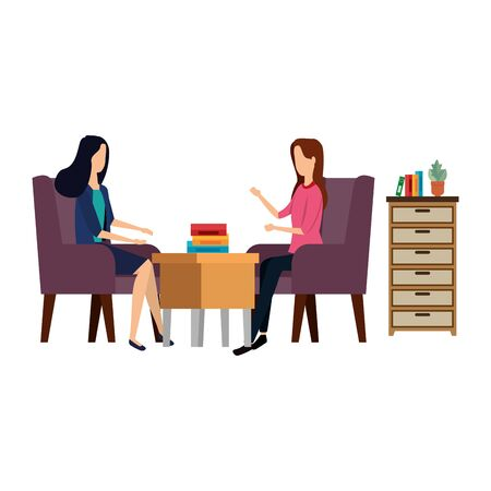 elegant businesswomen workers in the office vector illustration design