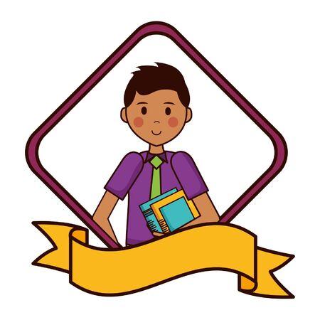 man character portrait ribbon on white background vector illustration