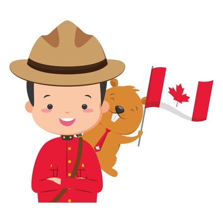 canadian police mounted beaver flag happy canada day vector illustration Ilustrace