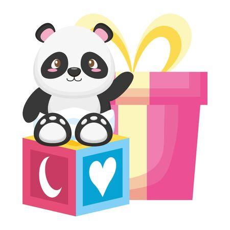 cute little bear panda baby character vector illustration design Stock Illustratie