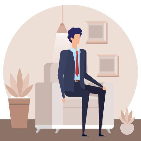 elegant businessman worker in the livingroom vector illustration design Çizim