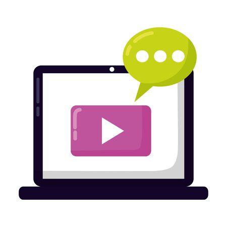 laptop video player message social media vector illustration 일러스트