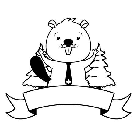 beaver happy canada day badge ribbon vector illustration Ilustrace