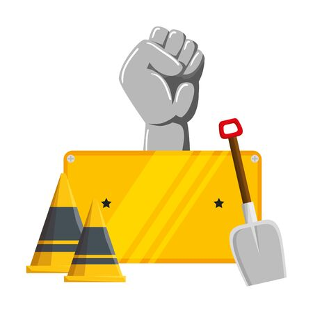 hand human fist with cones and shovel vector illustration design