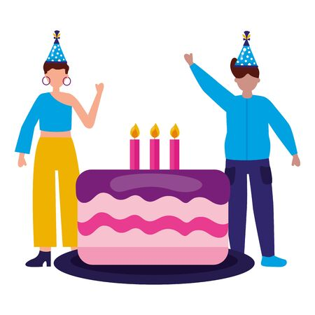 man and woman with cake birthday celebration vector illustration