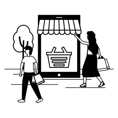 man and woman smartphone online shopping bag commerce vector illustration Çizim