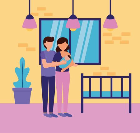 man and woman with baby in the room pregnancy and maternity scene flat vector illustration Ilustrace