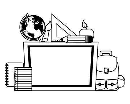 chalkboard desk map ruler book paintbrush pencil apple back to school vector illustration