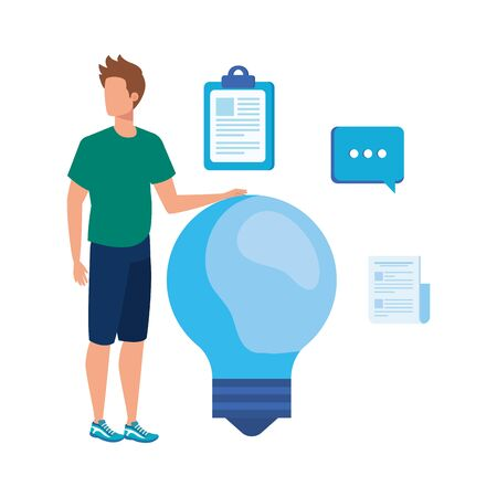 young man with bulb character vector illustration design Stock Illustratie